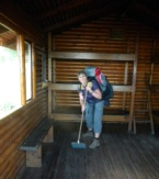 Day 1 of Otter Trail - sweeping the hut