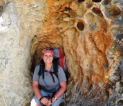 """Sitting in a hole for some shade. I have a slightly funny eye because it was almost poked out by a stick I tripped into climbing over a rock. """"Took a closer look at nature"""". LOL"""