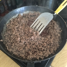 Ostrich mince has no fat so it was easy to de-hydrate