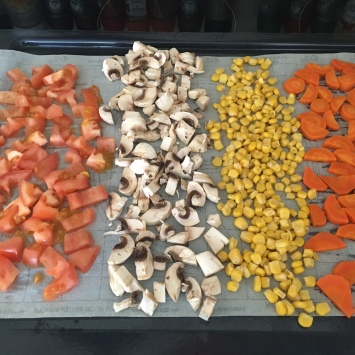 Drying our vegetables for our hiking