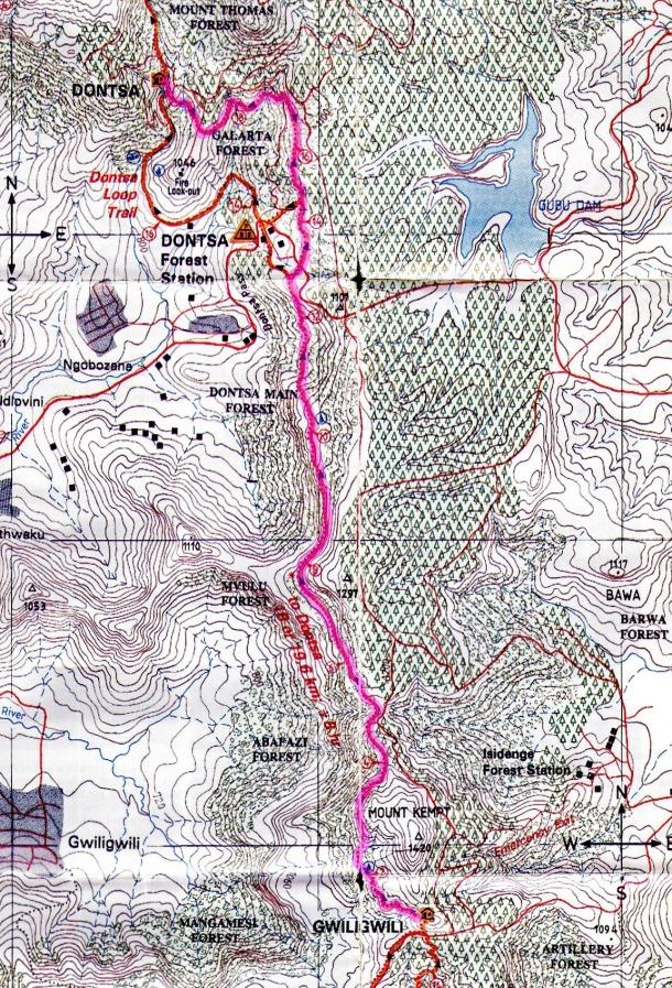 Amatola Hike Map Day 2