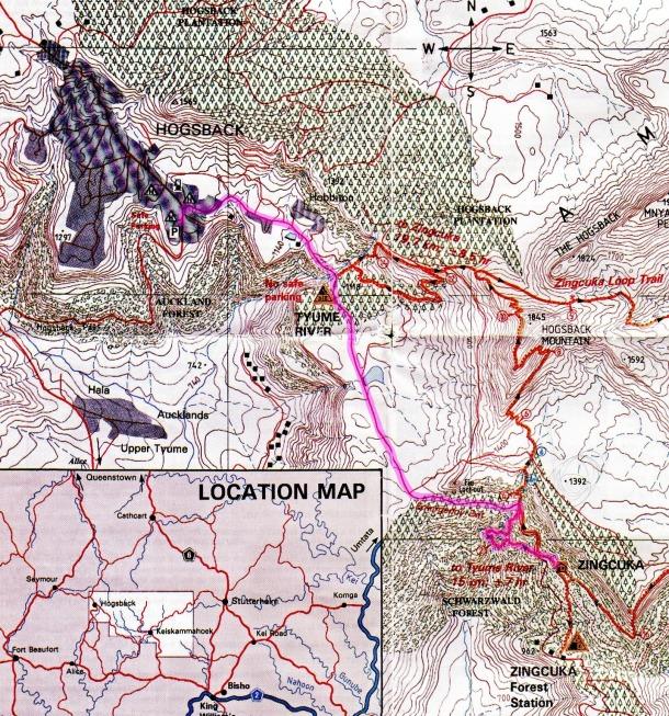 Amatola Hike Map Day 6