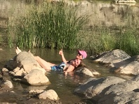 Relaxing in the hot water spring of the Fish River Canyon