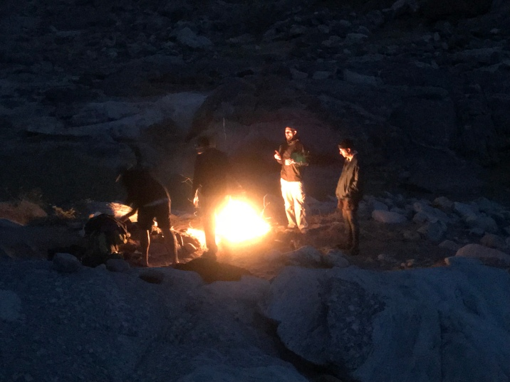 Wood is a bit scarce but the men braaied in the Fish River Canyon on the 1st night