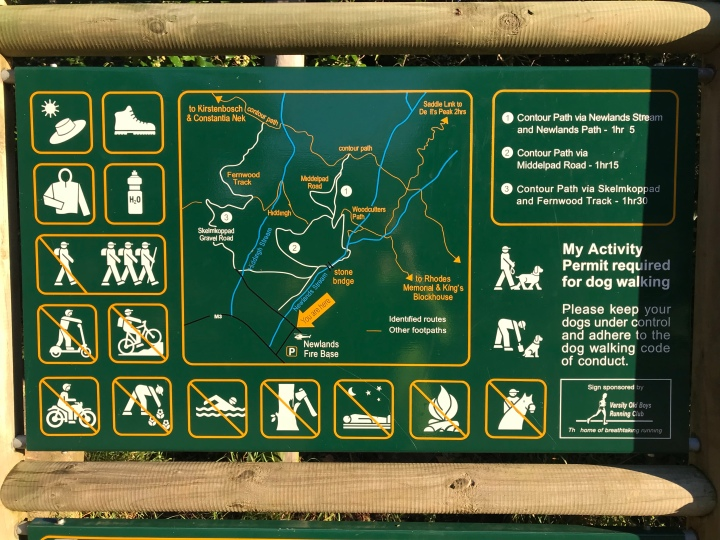 Newlands Forest Sign with trail suggestions